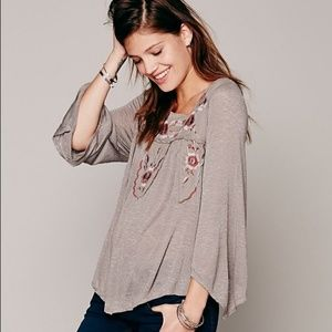 Free People Bed of Roses Peasant Embroidered Top